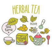 Cartoon hand drawn Herbal Tea — Stock Vector