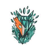 Abstract fox illustration — Stock Vector