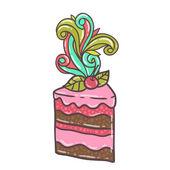 Hand drawn cheery cake — Stock Vector