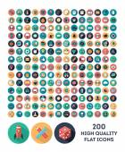Set of 200 high quality vector flat icons — Stock Vector
