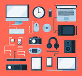 Collection of various electronic devices — Stock Vector