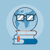 Earth with eyeglasses standing on books — Vector de stock