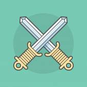 Two swords crossed isolated on a background — Stock Vector