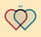 Two hearts joined together — Stock Vector