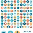 Set of 100 flat style education icons — Stock Vector #66268007