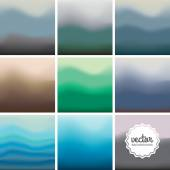 Set of nine blurred backgrounds — Vettoriale Stock