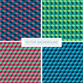 Set of four isometric cube pattern backgrounds — Stock Vector