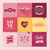 Set of nine Valentine's day stickers — Stock Vector