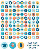 Set of 100 flat style education icons — Stock Vector
