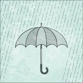 Illustration of umbrella in the rain — Stock Vector