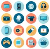 Set of flat multimedia icons — Stock Vector