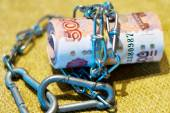 Russian money wrapped in a chain — Stock Photo