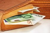 Geld in het boek — Stockfoto