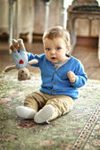 Little boy playing on the floor at home — Stock Photo