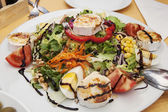 Salad Mediterranean salad with egg and brie cheese — Stock Photo