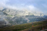 Andorra, Pyrenees mountains in the fog — Stock Photo