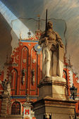 Statue of Roland in Riga - vintage style painting the city of Ri — Stock Photo