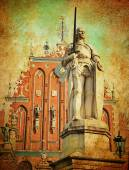 Vintage style painting the city of Riga — Stock Photo