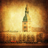 Vintage style painting the city of Riga, Latvia — Stock Photo
