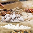 Nuts and dried fruits in the market — Stock Photo #69653649