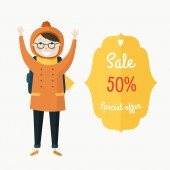 Christmas sale label with boy — Stock Vector