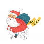Christmas card with santa on bike — Stock Vector