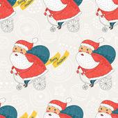 Christmas pattern with santa on bike — Stock Vector