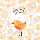 Thank you card with bird — Stock Vector