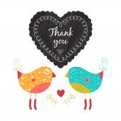 Thank you card with birds — Stock Vector