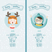Happy new year card with kids — Stock Vector
