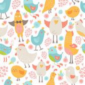 Cute birds seamless background — Cтоковый вектор