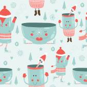 Vector christmas background with mugs — Stock Vector