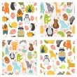 Vector seamless patterns with cute animals — Stock Vector #64000365