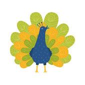 Cute majestic peafowl — Stock Vector