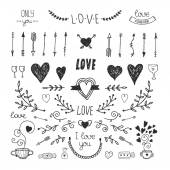 Love decorative elements, hand drawn collection — Stock Vector
