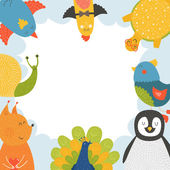 Cute animal frame with baby animals — Vettoriale Stock