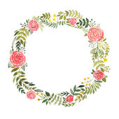 Watercolor wreath with roses and leaves — Vettoriale Stock