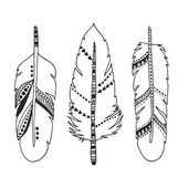 Handdrawn set of feathers isolated on white — Stock Vector