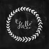 Hello card with hand lettering and nature wreath — Stock vektor