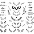 Set of vector hand drawn laurels, wreath, branches — Vector de stock  #76555657