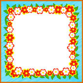 Frame with flowers and leavs — Stock Vector