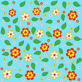 Seamless, pattern flowes and leaves — Wektor stockowy