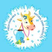 Label of cow  — Vetor de Stock