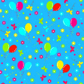 Birthday seamless,pattern.colorful balls,butterfly and flower — Stock Vector