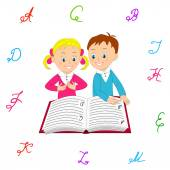 Boy and girl read with interest the book. — Stock Vector
