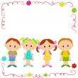 Boys and girls in frame — Stock Vector #70967939