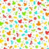 Colorful seamless,pattern of birds, dragonflies, bees and flowe — Stock Vector