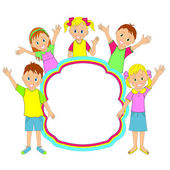 Children frame. kids, boys and girls smiling and waving — ストックベクタ