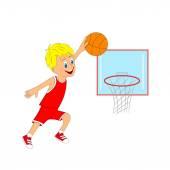 Children, boy playing basketbal — Stock Vector