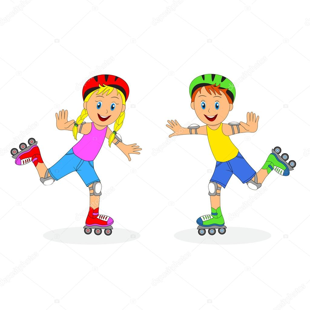 Kids roller skating clip art